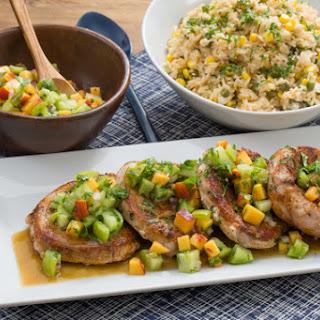 Pork Chops & Summer Vegetable Rice with Heirloom Tomato & Peach Salsa