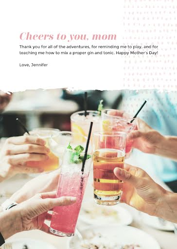 Cheers To You, Mom! - Mother's Day Card Template