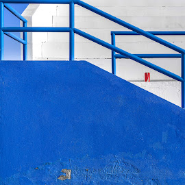 Tin Can by Katherine Rynor - Buildings & Architecture Architectural Detail ( railings, blue, minimal, steps, red can )
