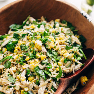 Roasted Corn Chicken Orzo Salad with Garlic Lime Vinaigrette Recipe
