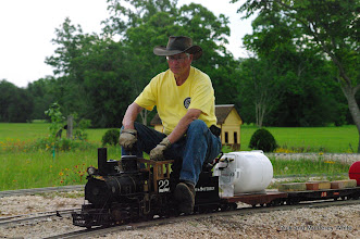 Photo: Doug Blodgett on Phillip Bell's C&S 22, a narrow gauge 2-6-0.  HALS-SLWS 2009-0523