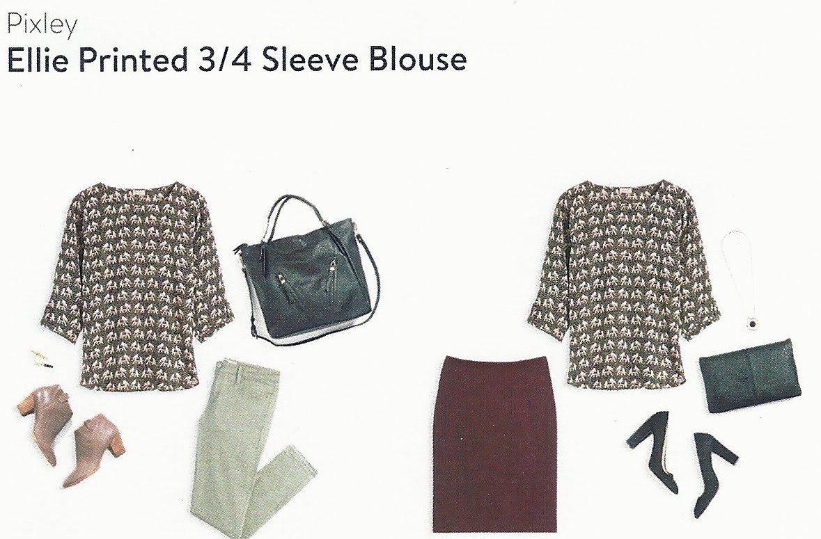 September Stitch Fix Box, Pixley Ellie Printed 3/4 Sleeve Blouse