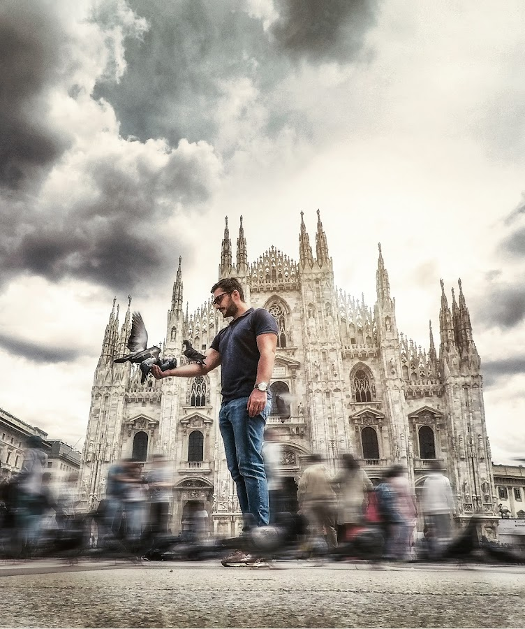 Duomo epic selfie by Goran Dzh - Novices Only Portraits & People ( italia, goprophotography, myself, duomo, milano, me, dramatic, epic, gopro, clouds, milan )