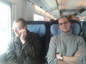Photo: Harald und Gösta im Zug zu den Linuxtagen Chemnitz (Freitag)