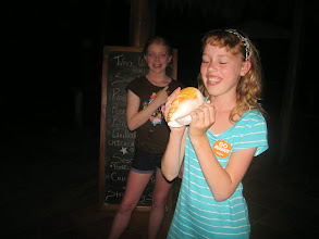 Photo: Genevieve is going to try to blow the conch to call everyone to dinner