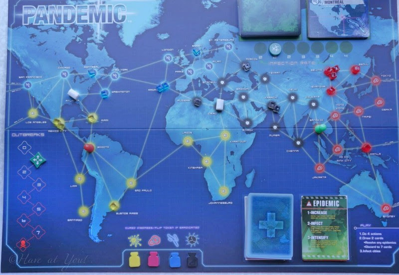 Pandemic board in the middle of a game