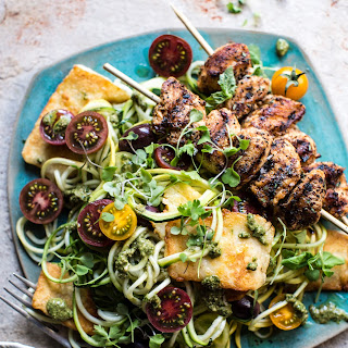 Mediterranean Chicken and Summer Squash Noodles with Fried Halloumi. Recipe