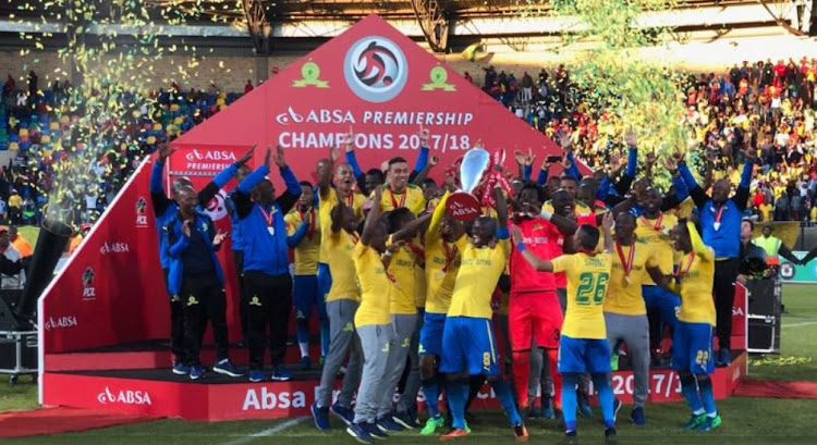 Mamelodi Sundowns players celebrate after lifting the 2018/19 Absa Premiership title.