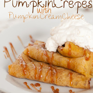 Pumpkin Crepes with Pumpkin Cream Cheese Filling.