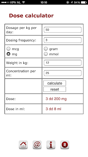 Pediatric dose calculator