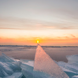Pinnacle  by Jamie Rabold - Nature Up Close Water ( clouds, plate ice, winter, shard, cold, ice, north shore, lake superior, sunrise, broken ice, sun )