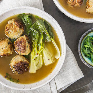 Ginger Chicken Meatballs in Miso Broth {with Bok Choy}