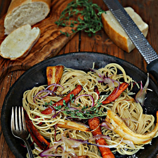 Spaghetti with Roasted Root Vegetables Recipe