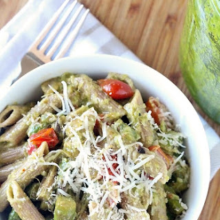 Creamy Pesto Penne Pasta with Tomatoes & Asparagus.