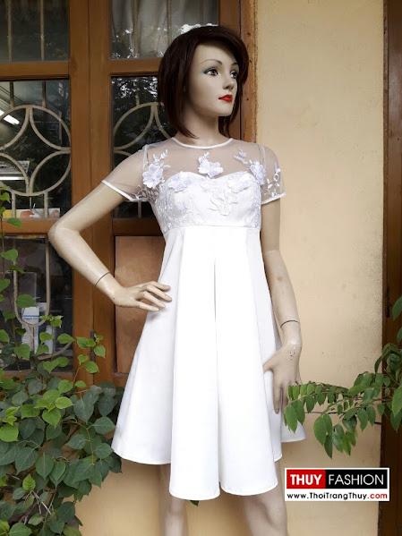 Váy xoè cúp ngực phối lưới hoa ren V279 Thời Trang Thuỷ