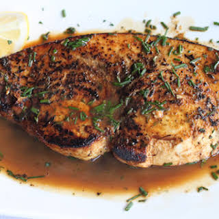 Seared Swordfish with a Lemon and Wine Rosemary Sauce.