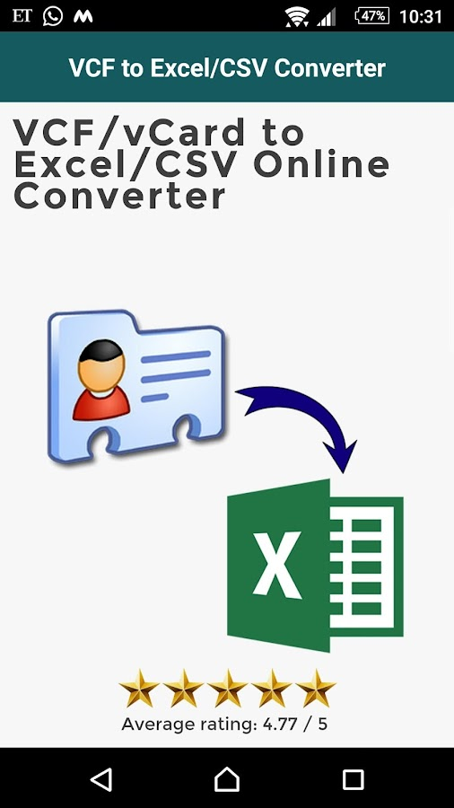 VCF to Excel/CSV Converter- screenshot