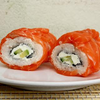 Creamy Avocado Salmon Philadelphia Sushi Rolls.