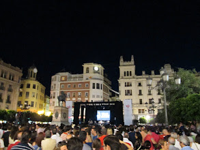 """Photo: This picture is of a a band that was playing Spanish music in the same plaza in Córdoba. This particular night was known as """"la noche blanca"""" or the white night. There were bands all around the city celebrating this special occasion. The streets were absolutely packed, and the festival lasted until about 5:00 a.m."""