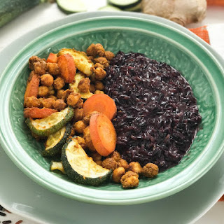 Black Rice with Coconut Milk and Spicy Chickpeas.