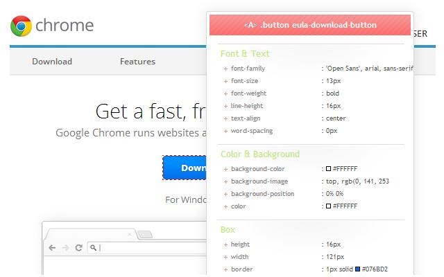 CSSViewer chrome extension
