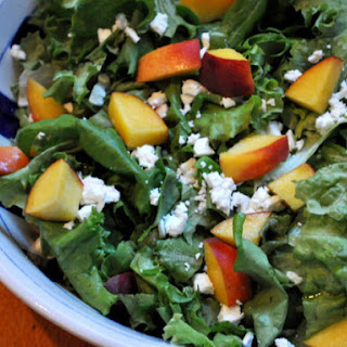 Butter Lettuce Salad with Peaches and Feta.