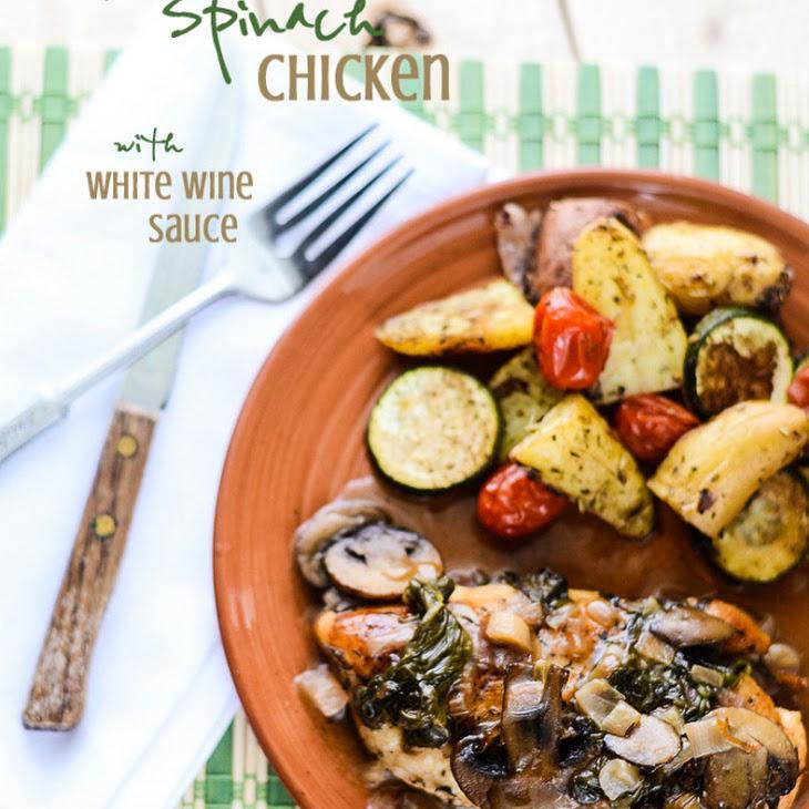 Mushroom Spinach Chicken with White Wine Sauce Recipe