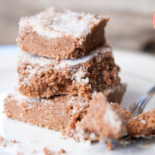 Low Carb Brownie Cake With Cinnamon Candy Crunch Topping.