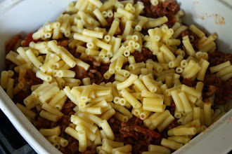 Photo: Once the meat sauce was cooked, I layered it with part-cooked macaroni and baked it in the oven for 20 minutes.