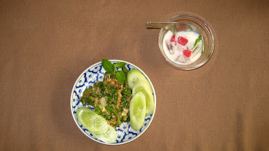 Photo: Nam Prik Ong (Northern Style Minced Pork salad [I used mushroom]) and Tab Tim Grob (sugared water chestnuts with coconut milk)
