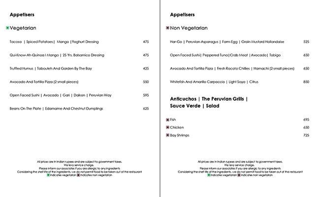 Hemant Oberoi menu 3