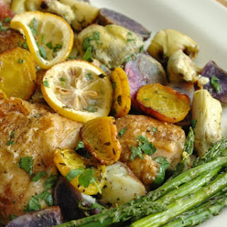 Roast Chicken Thighs With Purple Potatoes, Artichokes, Beets, And Lemons