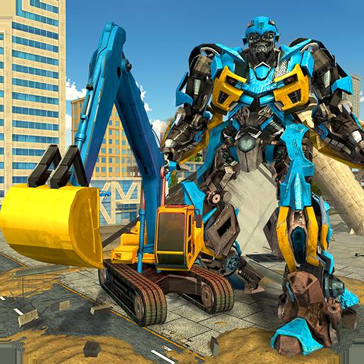 Excavator Crane Robot Transformation City Survival