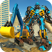 Excavator Crane Robot Transformation City Survival