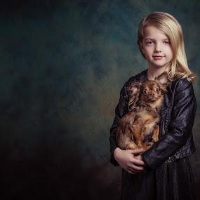 Me and my dog by Henk  Veldhuizen - Babies & Children Child Portraits ( child, girl, fine art, child portrait, chihuahua, dog )