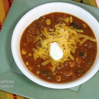 Cheesy Vegetarian Enchilada Soup {Crock Pot} for a #FamilyDinnerTable #SundaySupper.