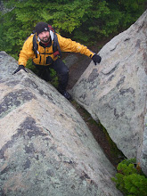 Photo: Tommy at the final scramble to the summit of The Horn.