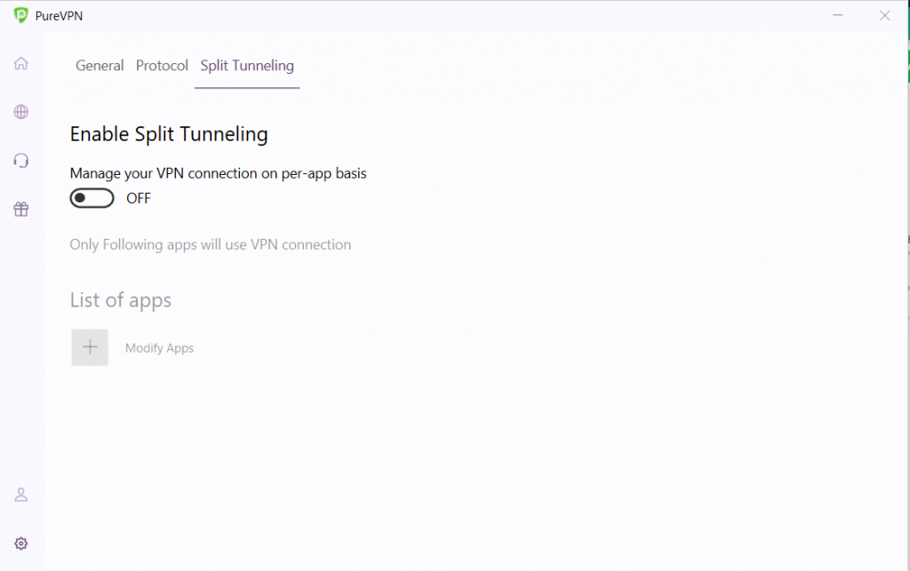 Select the split tunneling.