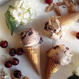 Homemade Red Wine Cherry Ice Cream.