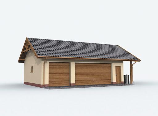 projekt G156 szkielet drewniany garaż trzystanowiskowy z pomieszczeniem gospodarczym