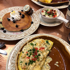 Gluten free pancakes and gluten free real lump crab omelette.