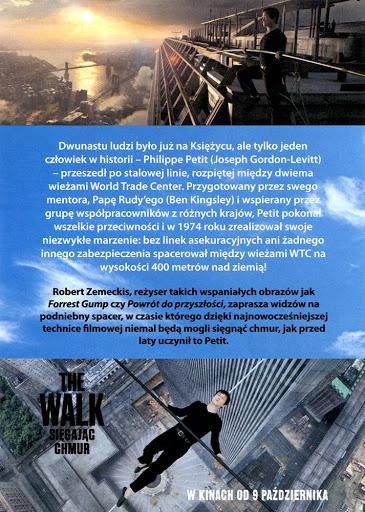 Tył ulotki filmu 'The Walk. Sięgając Chmur'