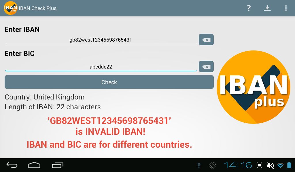 IBAN Check Plus IBAN and BIC validation- screenshot