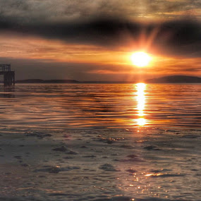 Low down  by Ann Goldman - Landscapes Sunsets & Sunrises ( lowdown, water, sunset, bayside,  )