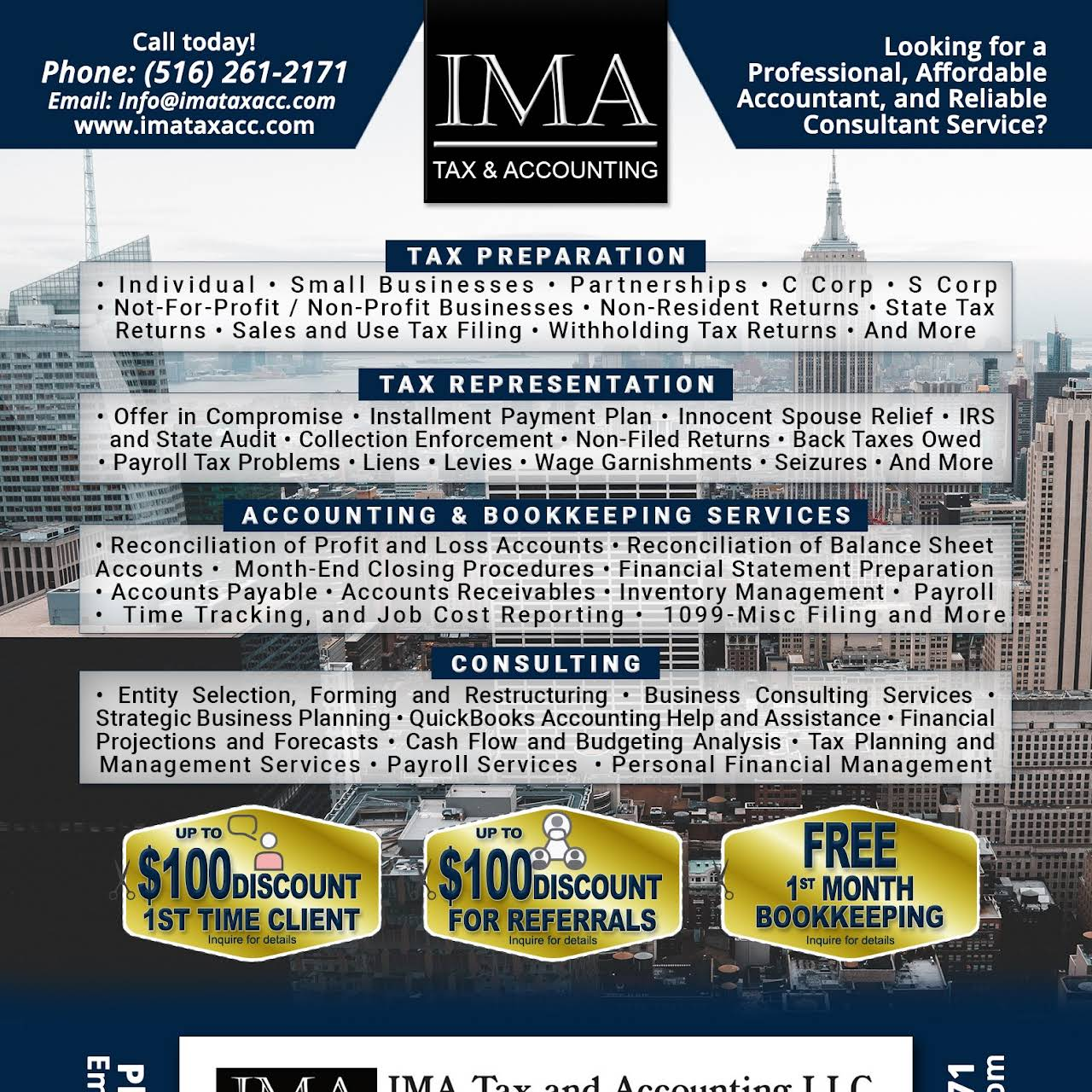 IMA Tax and Accounting LLC - Accounting Firm in Uniondale