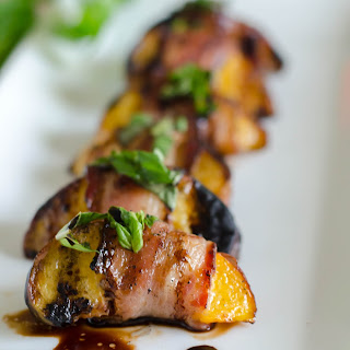 Bacon Wrapped Peaches with Basil and Balsamic