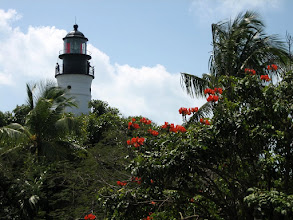 Photo: The Key West lighthouse as seen from the second floor of Hemingway's house