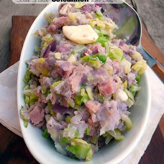 Blue Potato Colcannon with Ham