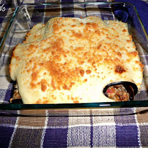 Eggplant Cannelloni with Caramelized Onion Bechamel