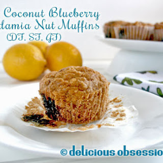 Lemon Coconut Blueberry Macadamia Nut Muffins (Dairy, Sugar, Grain, and Gluten-Free)